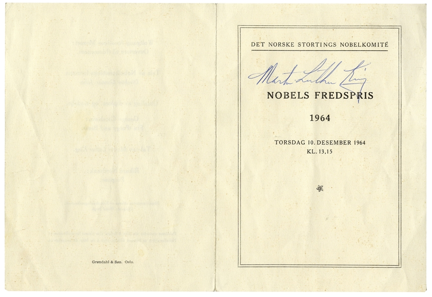 Martin Luther King, Jr. Signed Copy of the 1964 Nobel Peace Prize Program Where King Was Awarded the Prize -- Possibly the Only One Extant