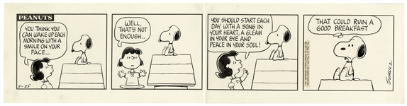 Charles Schulz Hand-Drawn Peanuts Comic Strip From 1971 Featuring Snoopy & Lucy