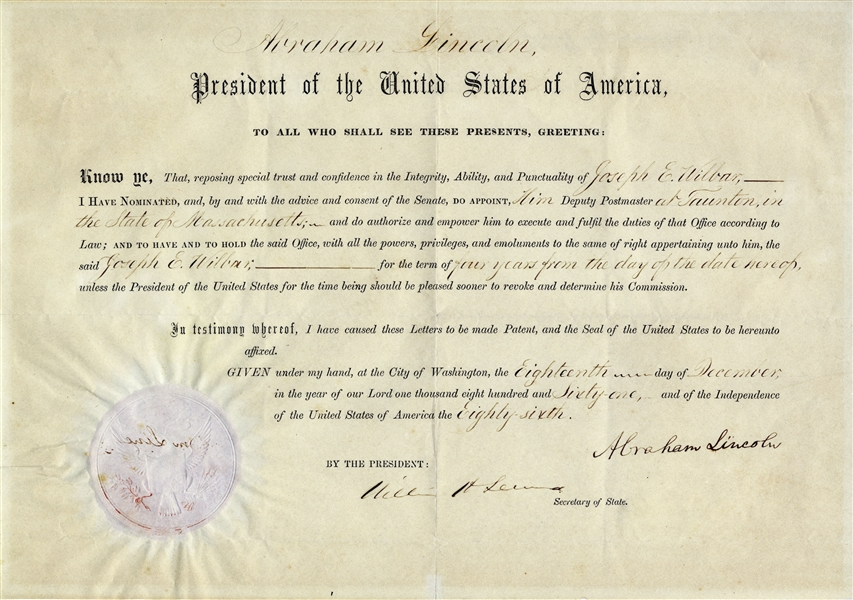 Abraham Lincoln Document Signed as President -- Near Fine With Full, ''Abraham Lincoln'' Signature