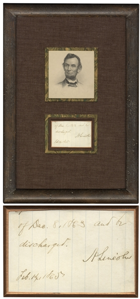 Abraham Lincoln Signature as President -- Lincoln Issues Amnesty to Confederate Soldier