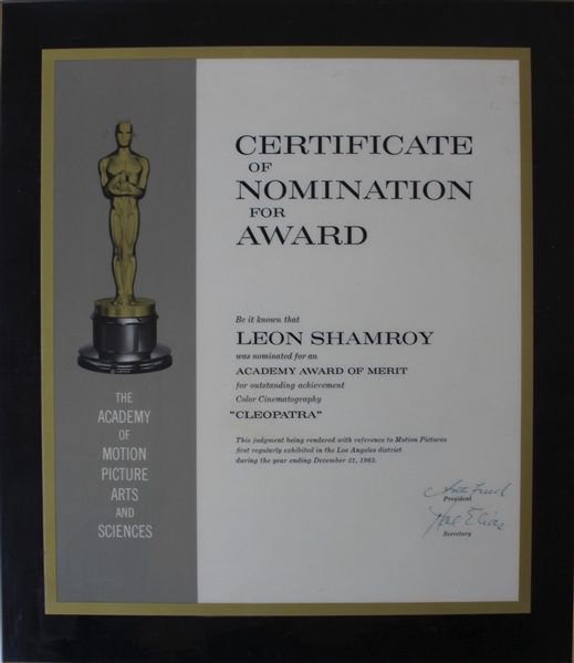 1963 Academy Award Nomination for Cleopatra -- Awarded to Leon Shamroy for Cinematography Who Would Win the Oscar for Cleopatra