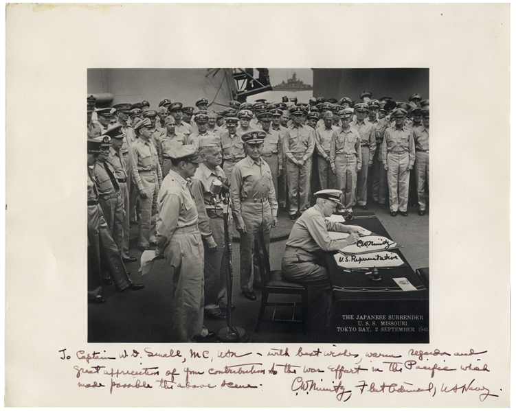 Admiral Chester Nimitz 13'' x 11'' Signed Photo of the Japanese Surrender -- Near Fine