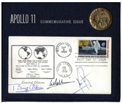 Apollo 11 First Day Cover Boldly Signed by Neil Armstrong, Buzz Aldrin and Michael Collins