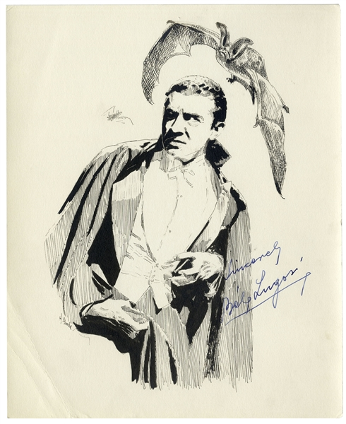 Bela Lugosi Signed Sketch of Himself as Dracula