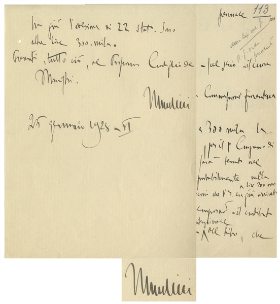 Benito Mussolini Autograph Letter Signed as Prime Minister and Duce of Fascism -- ''...Two rapier thrusts, and it breaks my heart...''