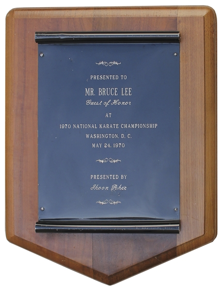 Bruce Lee Memorabilia Auction Bruce Lee's National Karate Championship Plaque -- Awarded to Him & Very Scarce