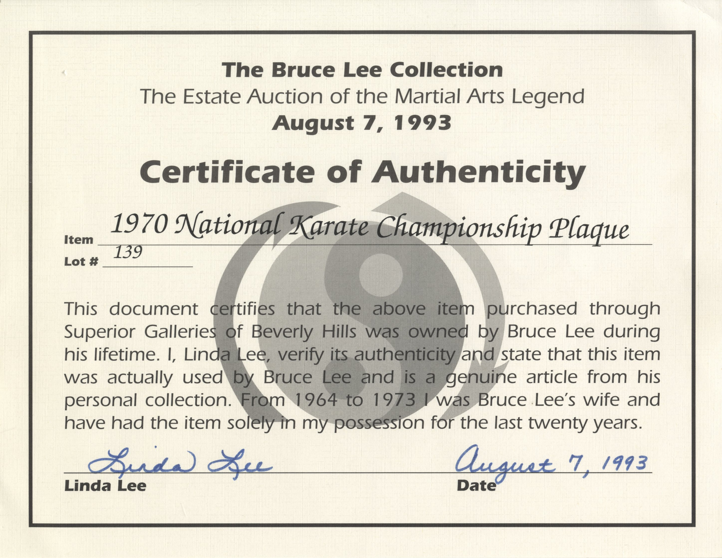 Bruce lee memorabilia auction buy consign sell autograph s too bruce lee memorabilia auction bruce lees national karate championship plaque awarded to him aiddatafo Choice Image