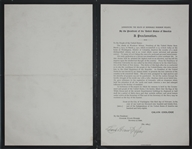 Charles Evans Hughes Signed Proclamation on the Death of Woodrow Wilson -- In a Foregone Era of Bipartisanship, Hughes Honors the Man Who Bested Him for President