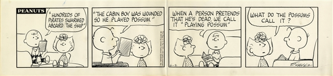 Charlie Brown & Sally Star in This Peanuts Comic Strip Hand-Drawn by Charles Schulz in 1972 -- Charlie Brown Reads a Pirate Story to His Sister