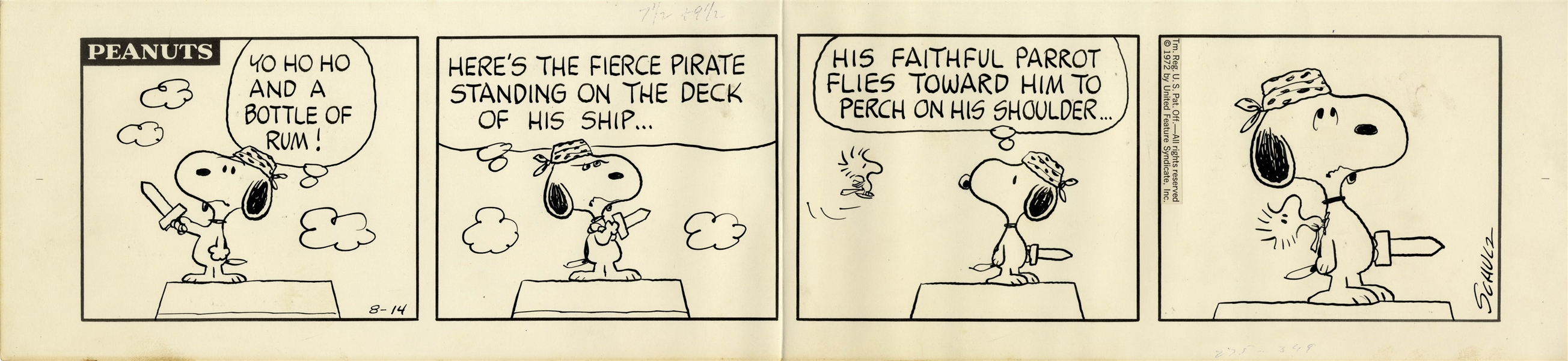 Snoopy Plays Pirate With Woodstock Helping in This 1972 Charles Schulz Hand-Drawn ''Peanuts'' Strip