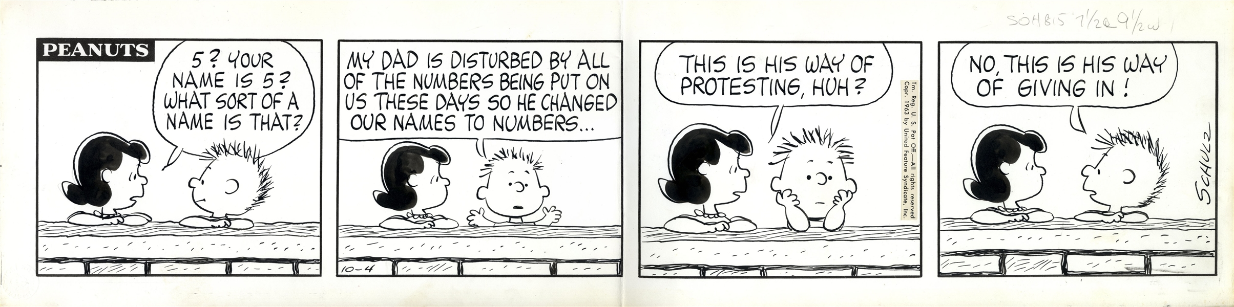 Charles Schulz Hand-Drawn Comic Strip From October 1963 -- The First Appearance of Character ''555 95472'', Schulz's Tongue-in-Cheek Protestation of Zip Codes & 7 Digit Phone #'s