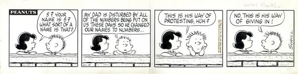 Charles Schulz Hand-Drawn Comic Strip From October 1963 -- The First Appearance of Character 555 95472, Schulzs Tongue-in-Cheek Protestation of Zip Codes & 7 Digit Phone #s