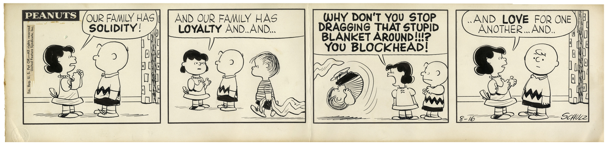 Early 1957 ''Peanuts'' Comic Strip Hand-Drawn by Charles Schulz -- Starring Charlie Brown, Lucy, Linus & Linus' Blanket