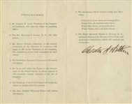 Chester A. Arthur Signed Program as President -- For the Unveiling of the Statue of George Washington on Wall Street