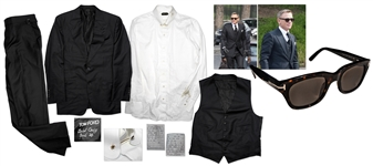Daniel Craig Suit & Sunglasses Worn as James Bond in Spectre -- Elegant Black 3-Piece Peak Lapel Suit by Tom Ford -- With Custom James Bond Label Sewn Within