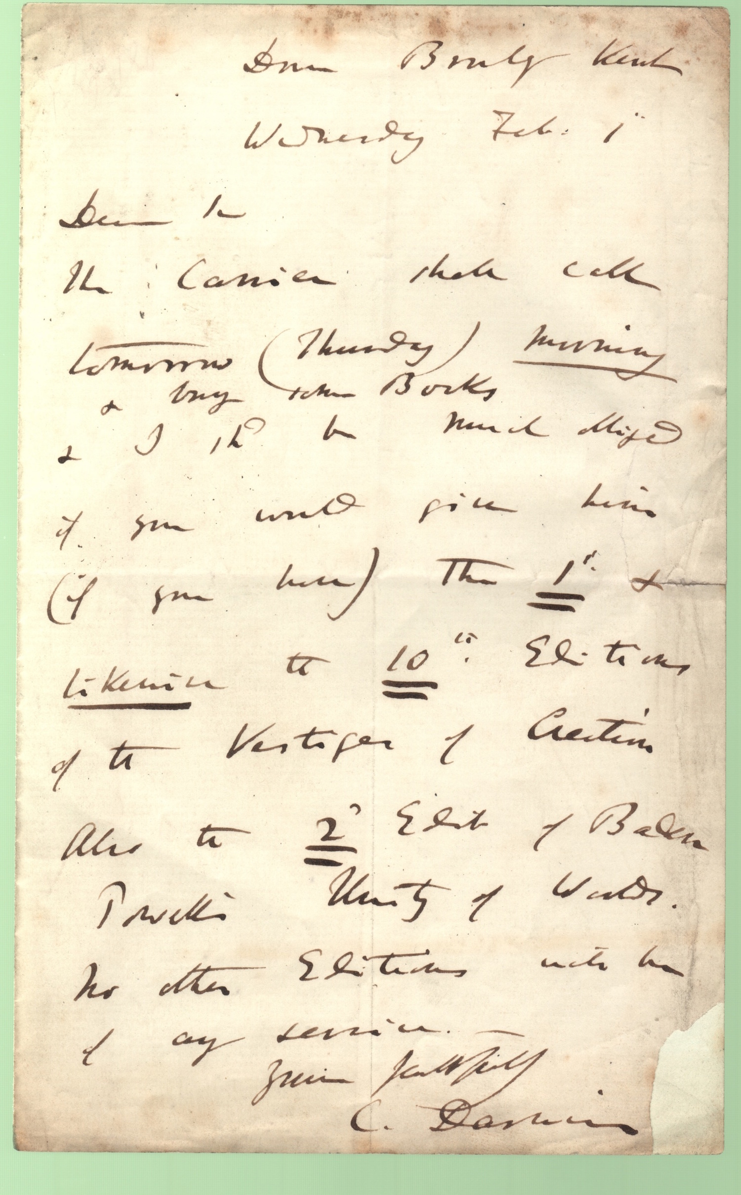 Letter from Charles Darwin, Down, to Charles Kingsley, 1867? December 13 : manuscript signed.
