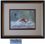 Large Watercolor of Uncle Scrooge Diving Into a Pile of Money -- by Disney Artist Patrick Block