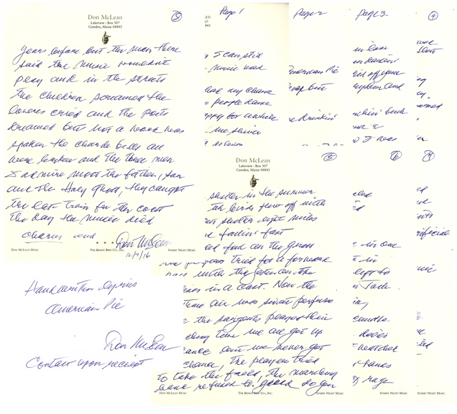 Don McLean Handwritten Lyrics to His Iconic ''American Pie'' -- The Only Lyrics Ever Sold at Auction Apart From the Original Draft