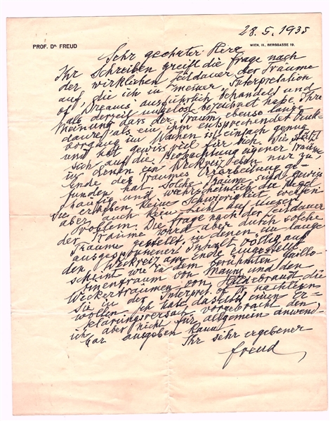 Sigmund Freud Autograph Letter Signed on Dreams & How Long They Last -- …the question of the real duration of dreams…which I have described as at present unsettled…
