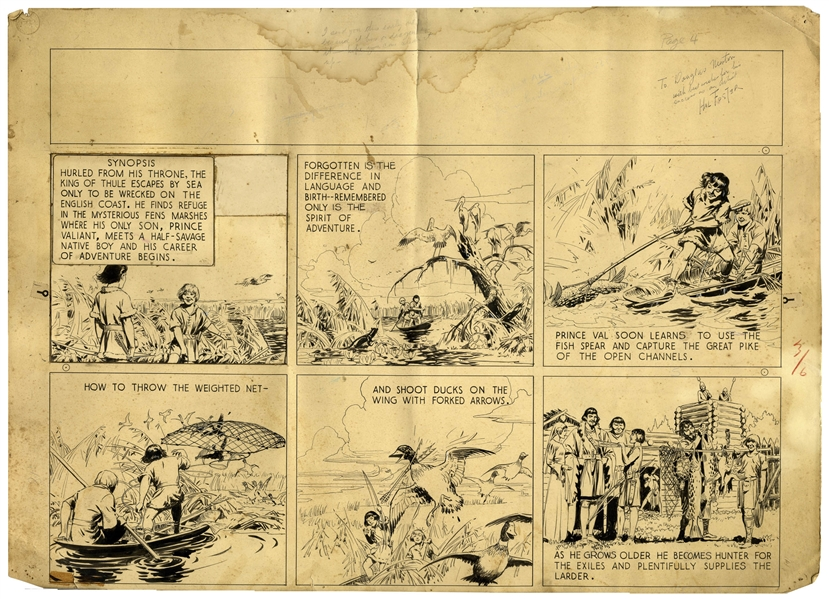Al Feldstein Art Prince Valiant Strip by Hal Foster Dated 6 March 1937 -- 4th Prince Valiant Strip in the Series! -- Val's ''Career of Adventure Begins'' Here, Showing His Growth From Boy to Young Man