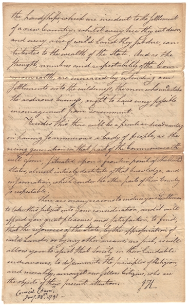 John Hancock Letter Signed Regarding Native-Americans -- …The People…are obliged to Suffer toil, hunger, and all the hardships which are incident to the Settlement of a new country…