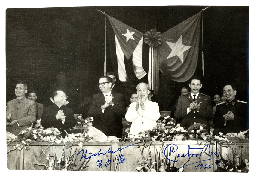 Ho Chi Minh Signed Photo -- Also Signed by Raul Castro From 1966