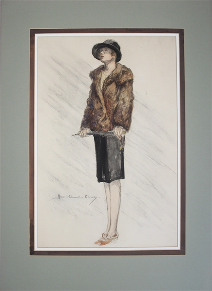 Large Watercolor by Howard Chandler Christy of His Famous ''Christy Girl''