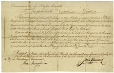John Hancock Document Signed as Governor of Massachusetts in 1781 -- Hancock Appoints a Surgeon to the Continental Army During the Revolutionary War