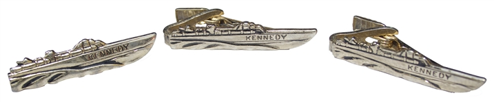 Lot of Three PT-109 Tie Bars From JFKs 1960 Presidential Campaign -- Direct From the Kennedy Family