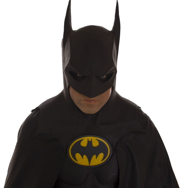 The Batsuit Worn by Michael Keaton in ''Batman Returns'' From 1992 -- Measures Over 6' Tall on Custom Display