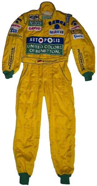 Michael Schumacher Racing Suit From the 1992 German F1 Grand Prix