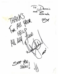Michael Jackson Rare Twice-Signed Thank You Note to Dennis Tompkins & Michael Bush -- With PSA/DNA COA