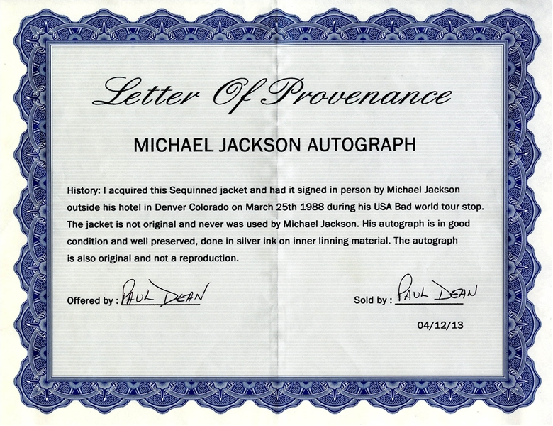 Michael Jackson Signed Jacket -- With PSA/DNA COA