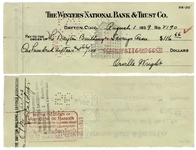 Orville Wright Check Signed