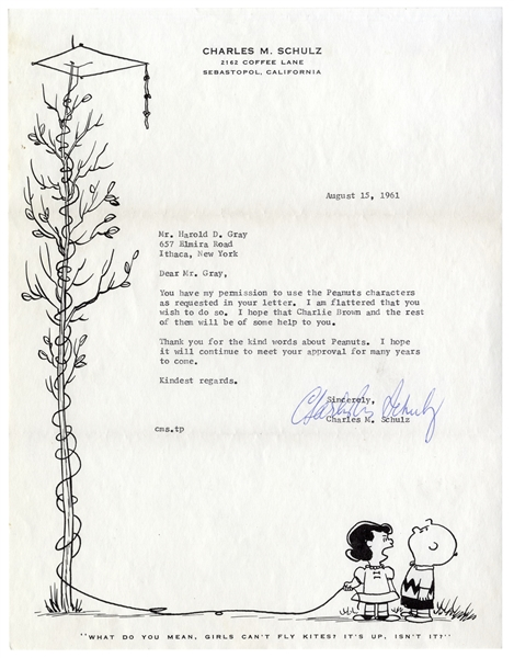 Charles Schulz Letter Signed From 1961 to ''Little Orphan Annie'' Cartoonist Harold Gray -- Schulz Is Flattered That Gray Asks Permission to Use His ''Peanuts'' Characters