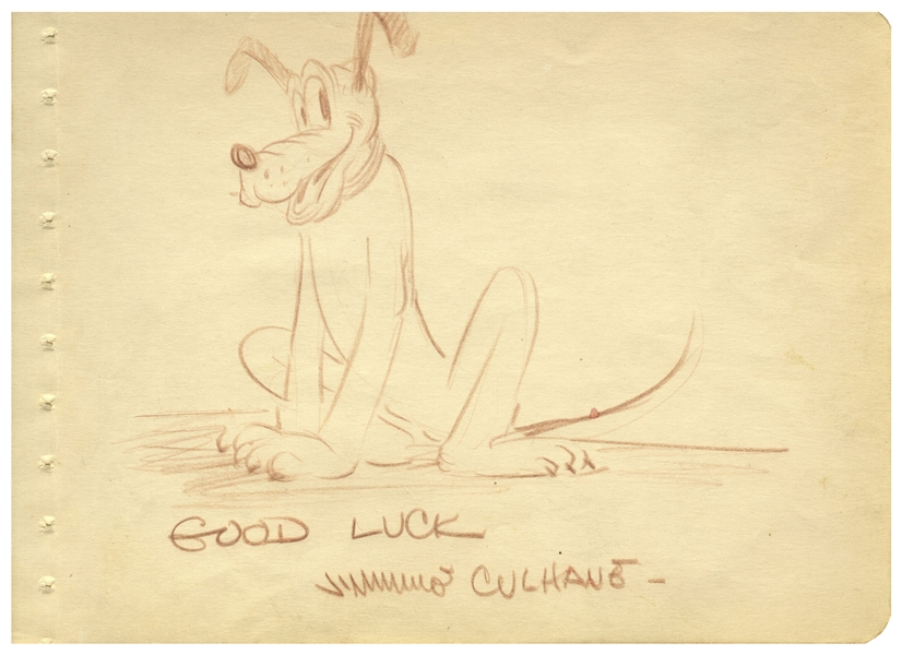 Sketch of ''Pluto'' by Famed Disney Animator James Shamus Culhane