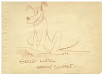 Sketch of Pluto by Famed Disney Animator James Shamus Culhane