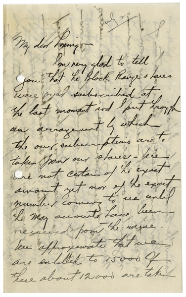 Herbert Hoover Autograph Letter Signed With Personal Content -- ''...it has to change - so the doctor says - or I will never see 40...'' -- Hoover Also Predicts the Future Importance of New York