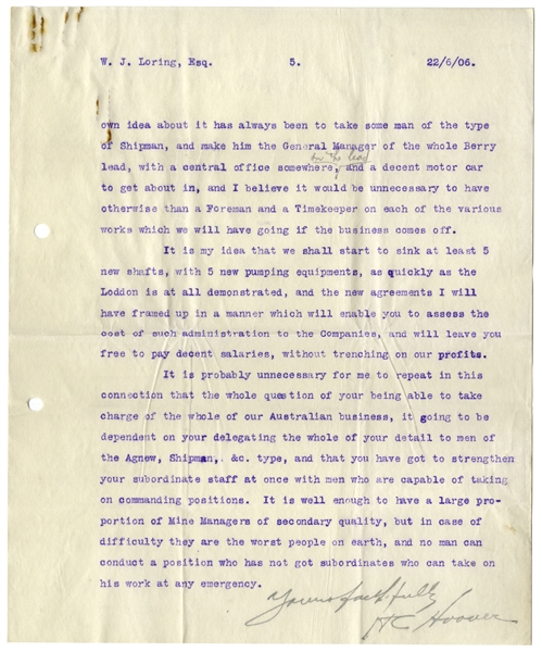 Herbert Hoover 5pp. ''CONFIDENTIAL'' Letter Signed, With His Handwritten Corrections -- ''...there is no doubt there is a traitor in our camp...''