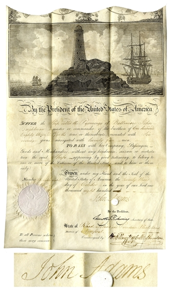 John Adams Ship's Papers Signed as President