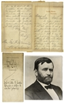Ulysses S. Grant Autograph Letter Signed as President, in Draft Form -- ...although I had said that I would not appoint Billings under any circumstances...