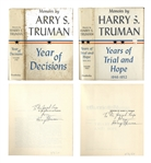 Harry Truman Signed 2 Volume Set of His Memoirs -- Each Volume Signed With Dust Jackets