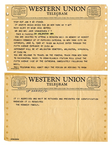 Western Union Telegram Serving as Invitation to Attend Robert F. Kennedy's Mass & Also to Travel on the Funeral Train -- Dated One Day After RFK's Assassination