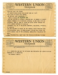 Western Union Telegram Serving as Invitation to Attend Robert F. Kennedys Mass & Also to Travel on the Funeral Train -- Dated One Day After RFKs Assassination