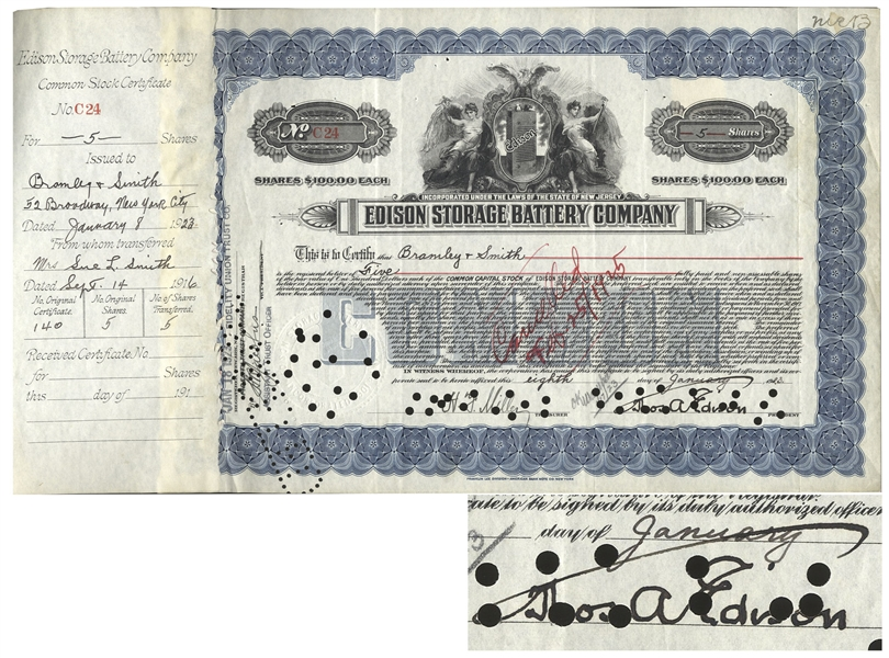 Thomas Edison Signed Stock in the Edison Storage Battery Company