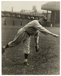 Walter Johnson 7.5 x 9.5 Signed Photo Shown Pitching -- Inscribed to Hollywood Legend Harold Lloyd -- Scarce