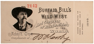 Buffalo Bill Cody Signed Ticket to His Wild West Show
