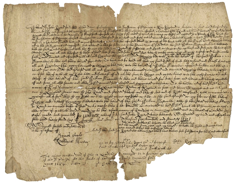 Very Scarce 1670 Pilgrim Land Deed -- Signed by Several Prominent Pilgrims Including Nathaniel Morton, Constant Southworth & John Rogers