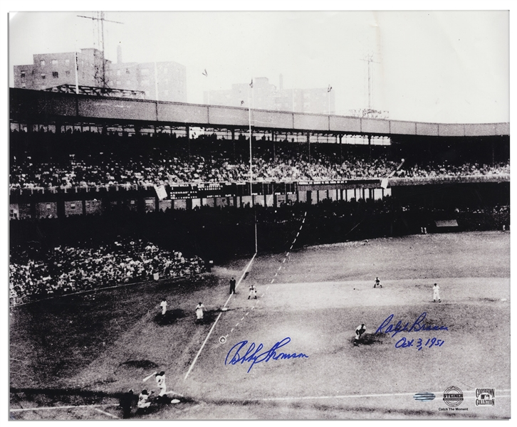 Bobby Thomson and Ralph Branca Signed 20'' x 16.5'' Photo of the Famed ''Shot Heard Round the World'' -- Steiner COA