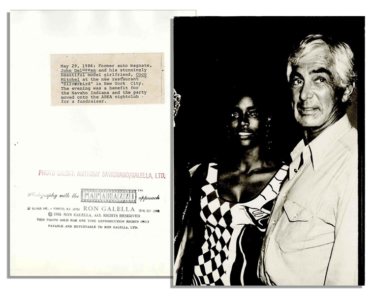Unpublished 1986 Photo of John DeLorean & His Girlfriend by Famous Papparazzi Ron Galella -- With Ron Galella Backstamp -- 7'' x 10''